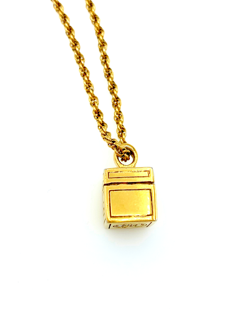 Givenchy Gold Cube Charm Vintage Pendant-Necklaces & Pendants-Givenchy-[trending designer jewelry]-[givenchy jewelry]-[Sustainable Fashion]