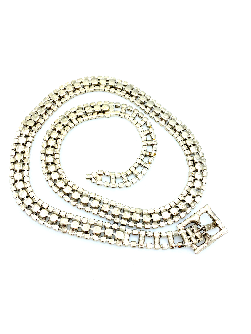 Clear White Rhinestone Mid-century Vintage Belt-Sustainable Fashion with Vintage Style-Trending Designer Fashion-24 Wishes