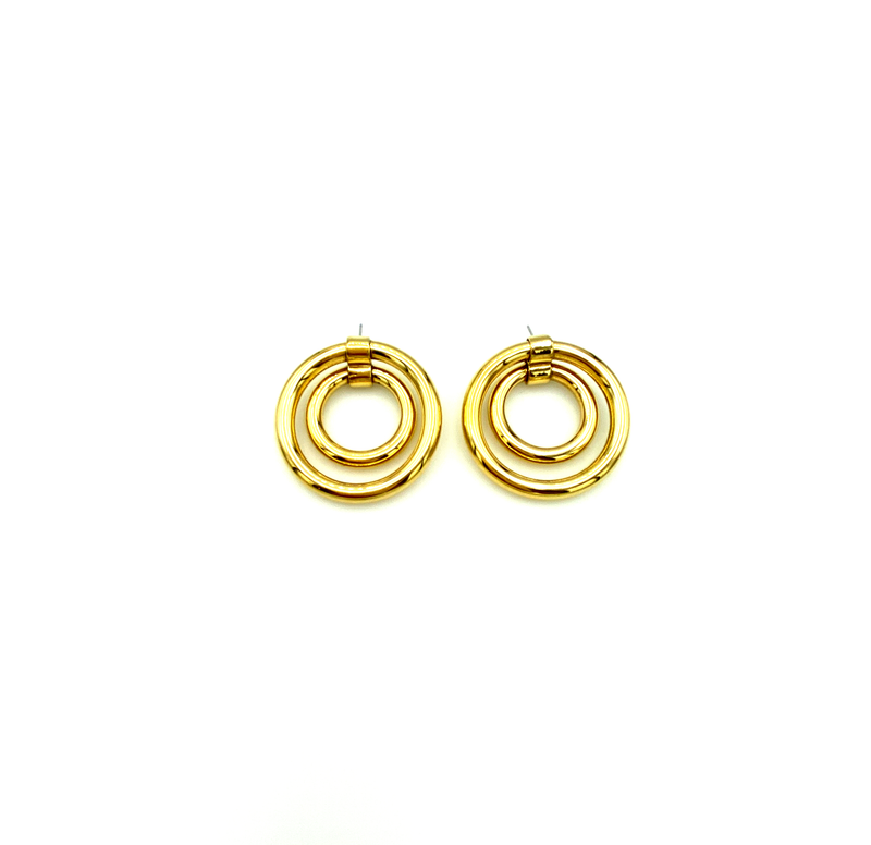 Gold Double a Circle Hoop Vintage Pierced Earrings