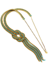 Vintage Turquoise Blue Rhinestone Layered Gold Long Chain Pendant-Necklaces & Pendants-24 Wishes