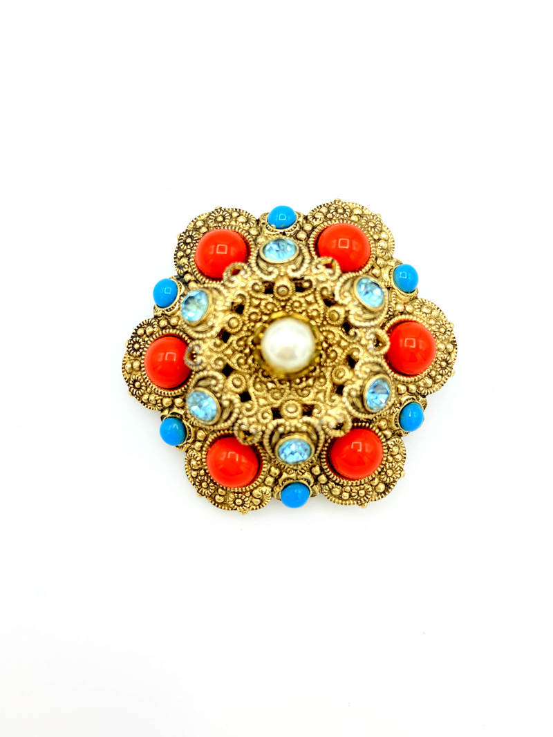 Coral & Turquoise Victorian Rival Brooch