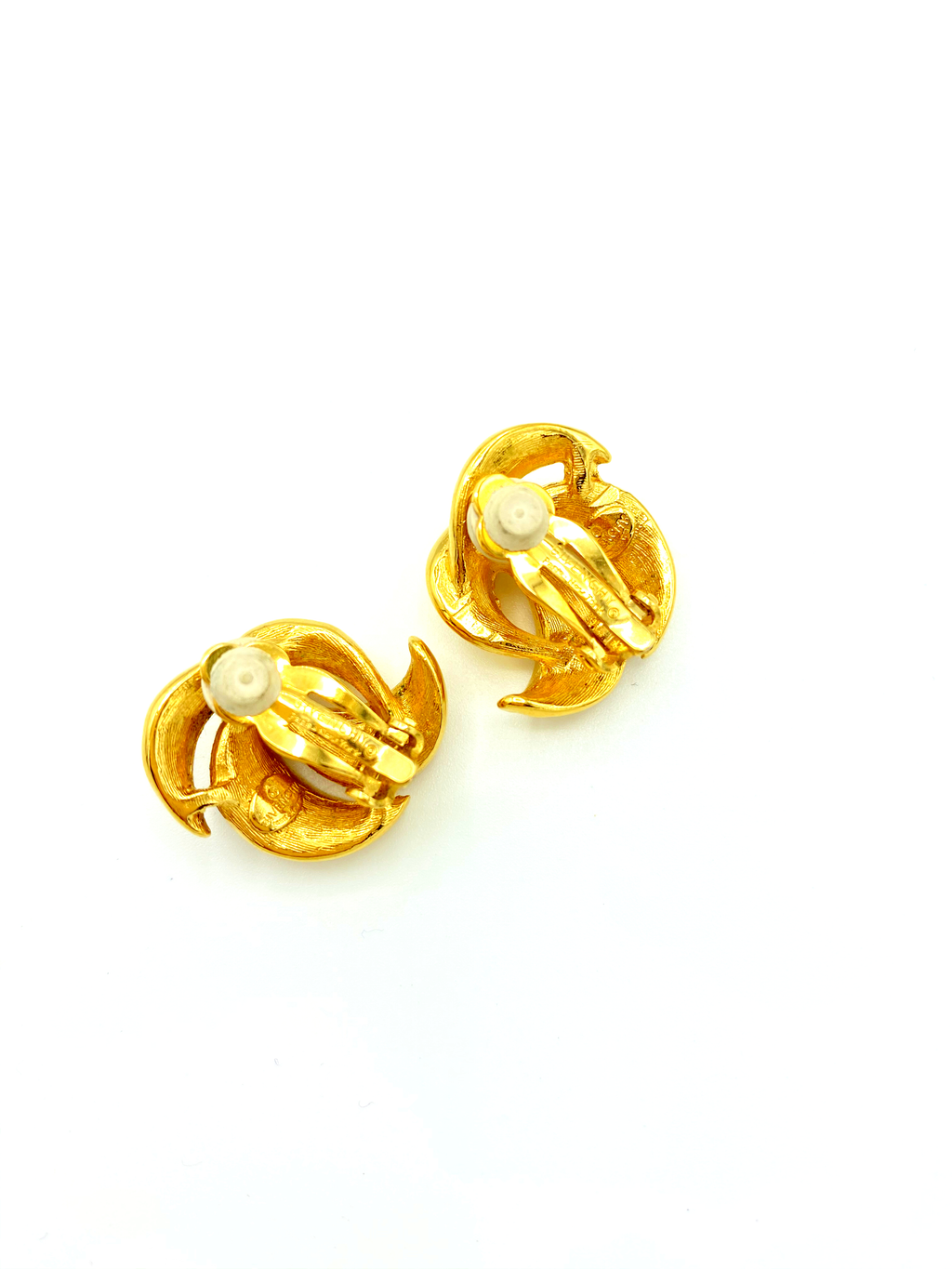 Givenchy Gold Swirl Petite Vintage Earrings-Sustainable Fashion with Vintage Style-Trending Designer Fashion-24 Wishes