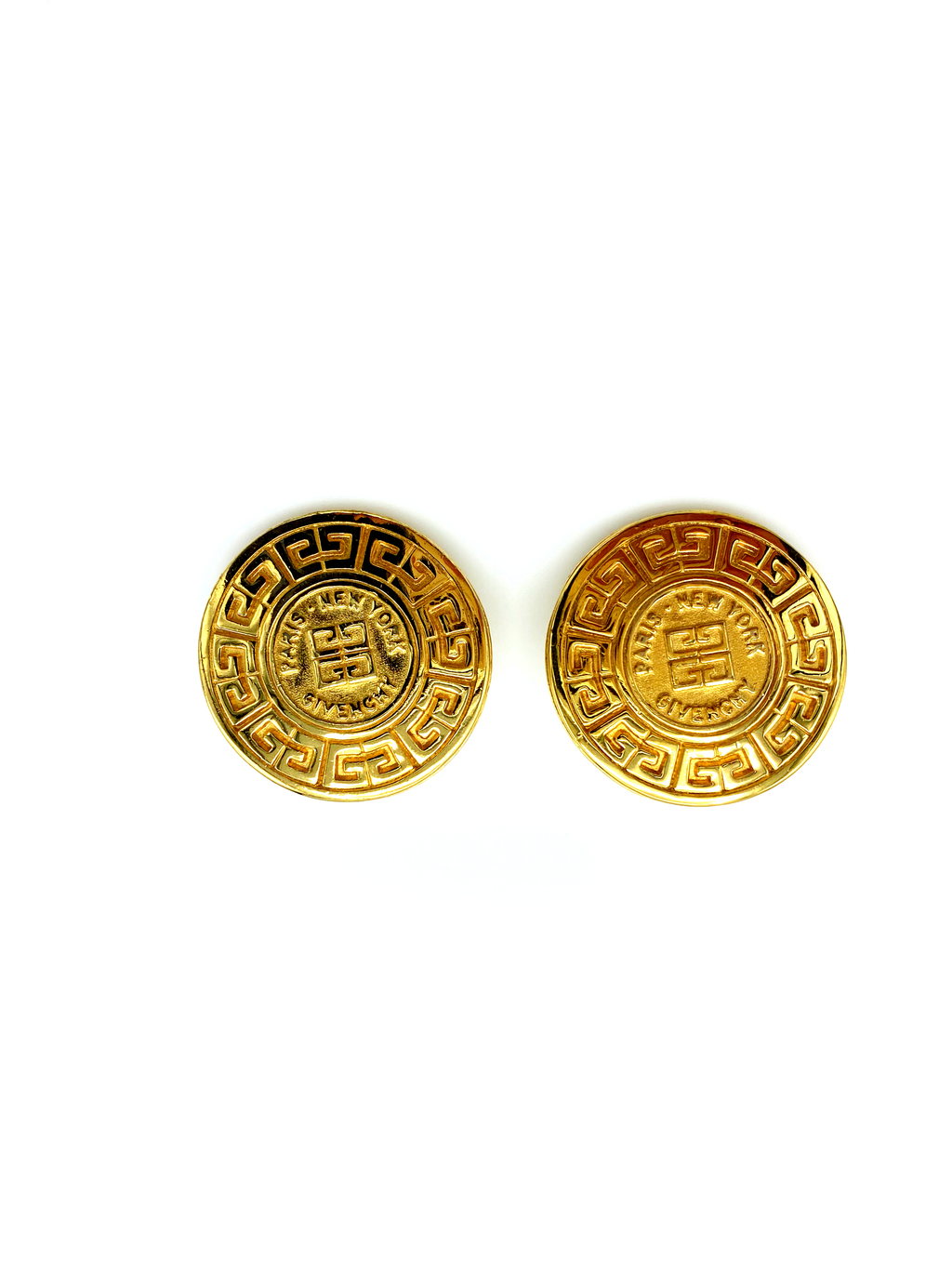 Givenchy Large Medallion Logo Vintage Earrings-Sustainable Fashion with Vintage Style-Trending Designer Fashion-24 Wishes