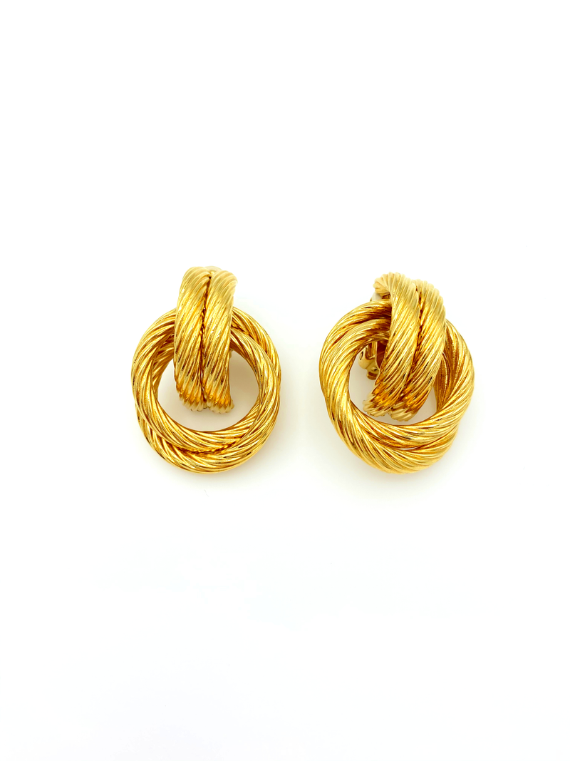 Givenchy Gold Twisted Knot Vintage Earrings