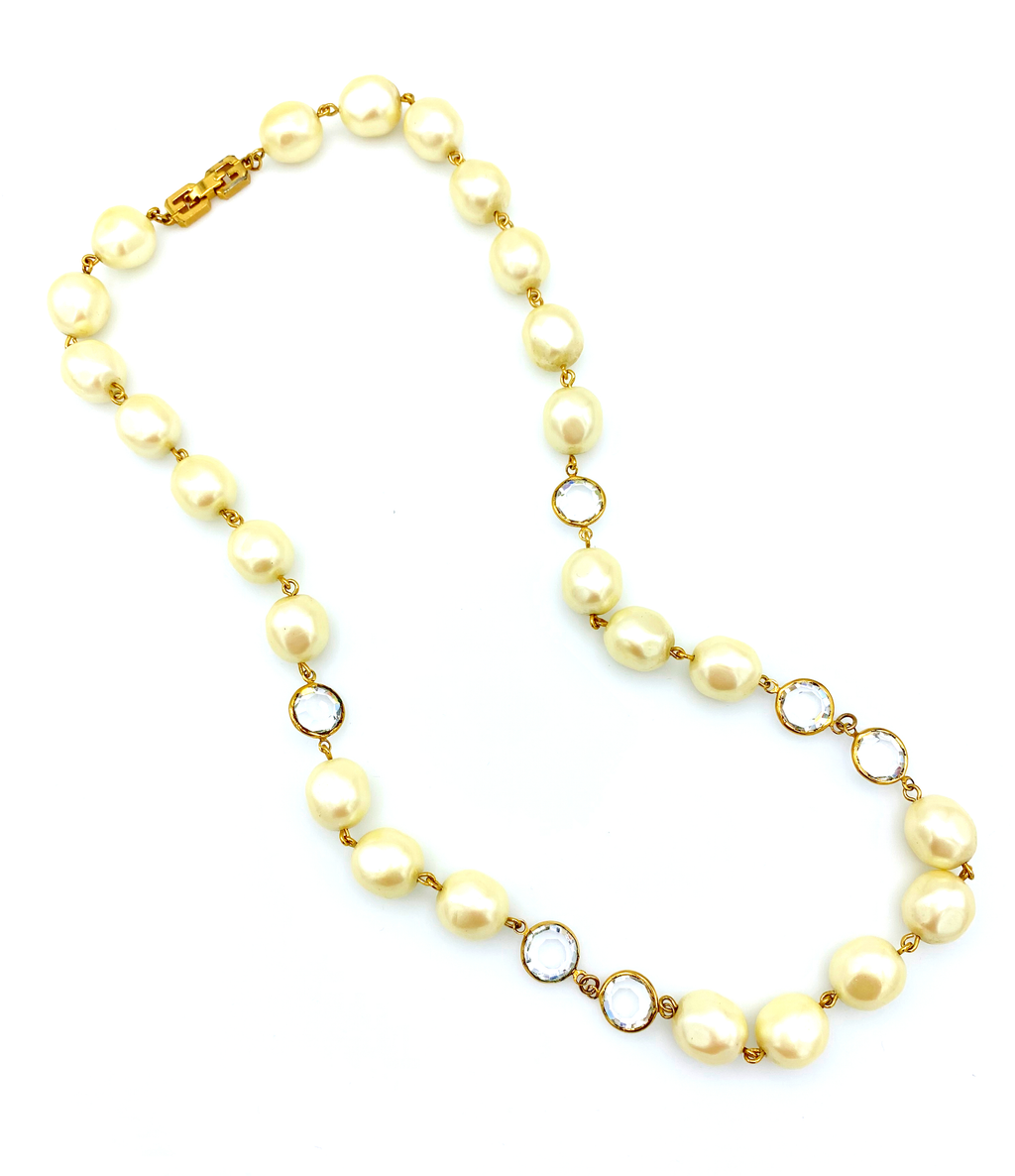 Givenchy Pearl & Crystal Vintage Necklace-Sustainable Fashion with Vintage Style-Trending Designer Fashion-24 Wishes