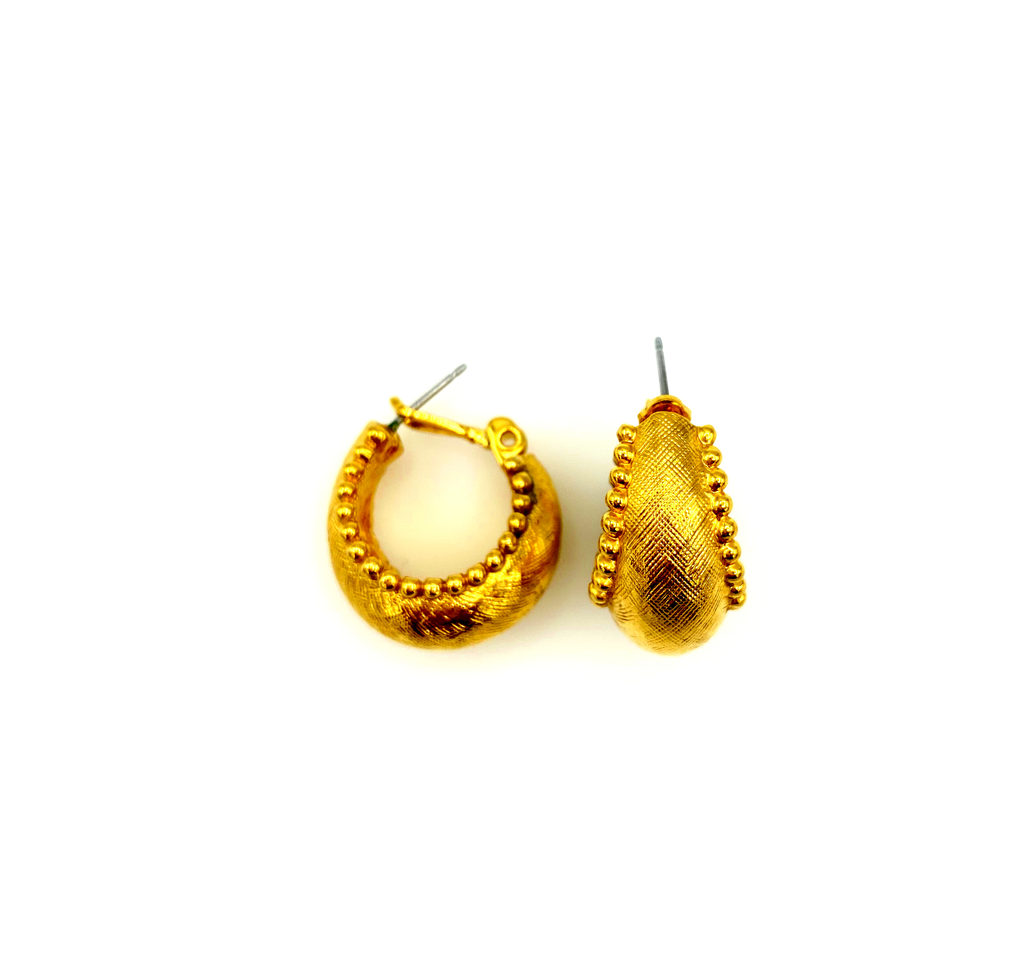 Everyday Gold Textured Vintage Hoop Pierced Earrings-Sustainable Fashion with Vintage Style-Trending Designer Fashion-24 Wishes