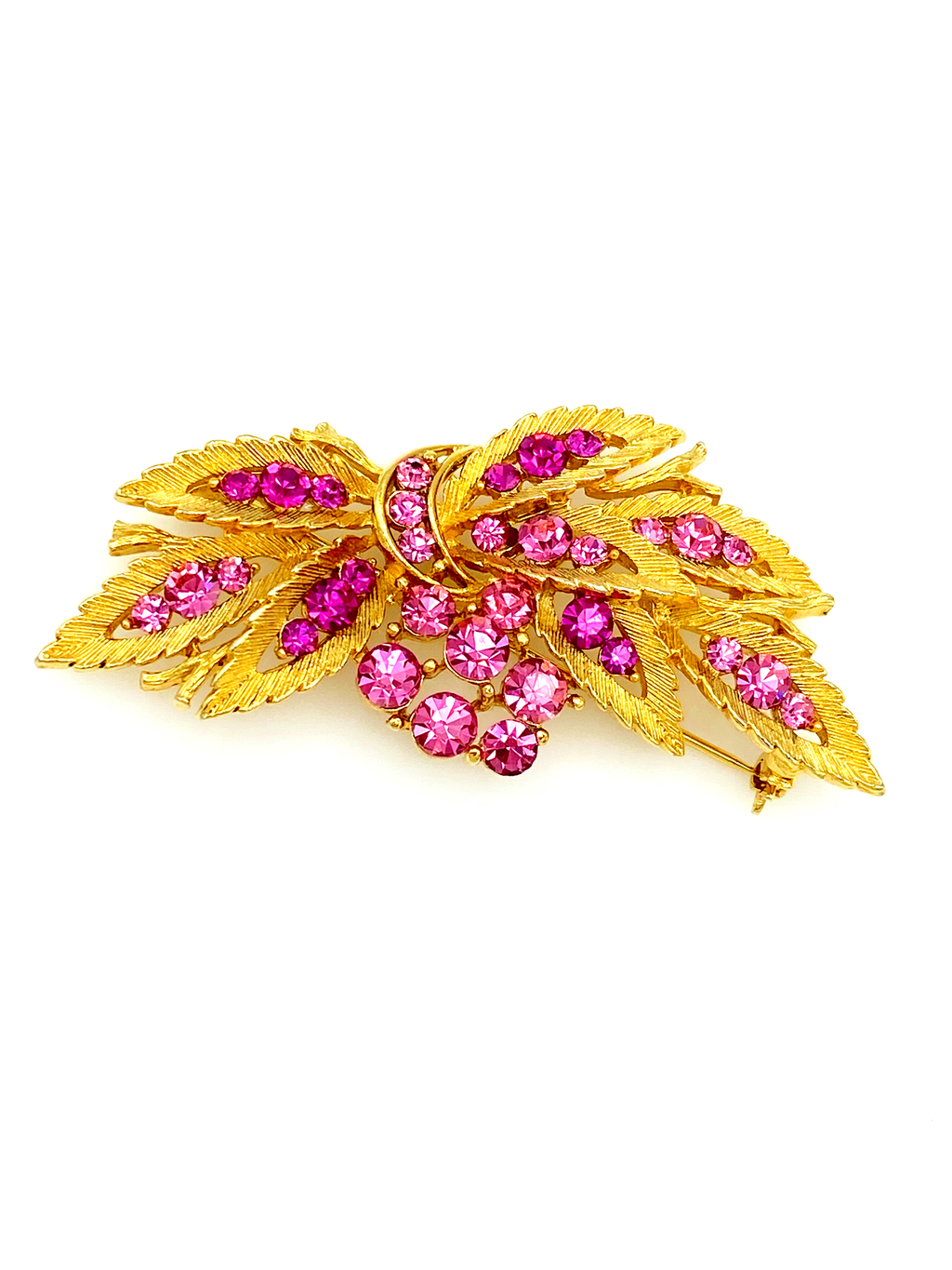 Gold Floral Pink Rhinestone Linser Vintage Brooch-Sustainable Fashion with Vintage Style-Trending Designer Fashion-24 Wishes