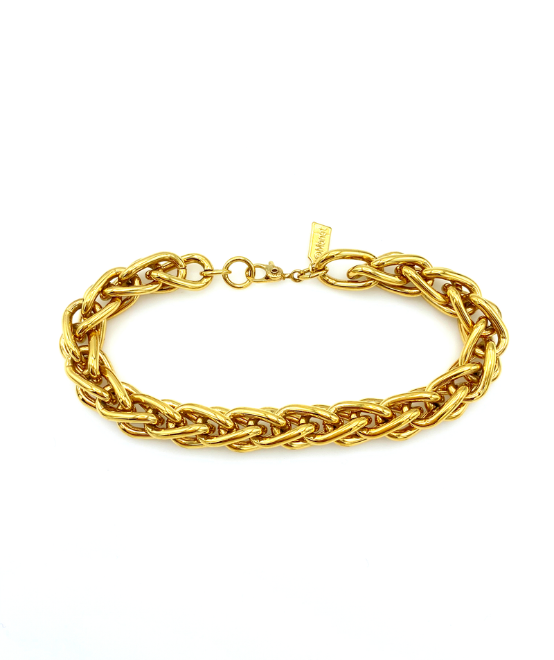 Monet Classic Gold Link Vintage Stacking Bracelet-Sustainable Fashion with Vintage Style-Trending Designer Fashion-24 Wishes