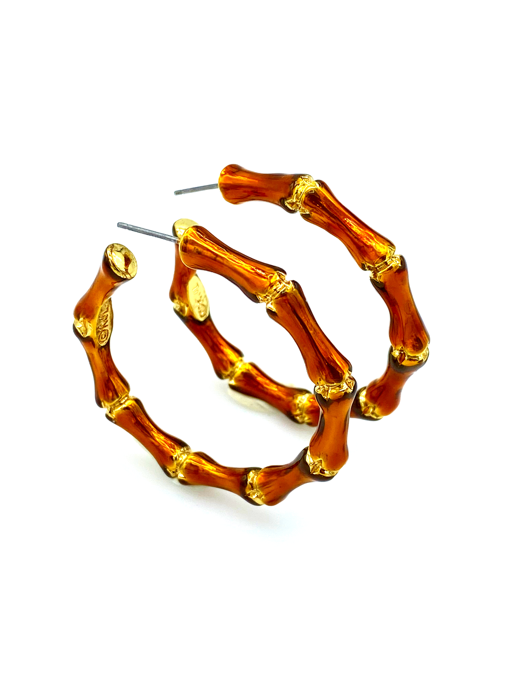 Kenneth Jay Lane Brown Bamboo Hoop Pierced Earrings-Sustainable Fashion with Vintage Style-Trending Designer Fashion-24 Wishes