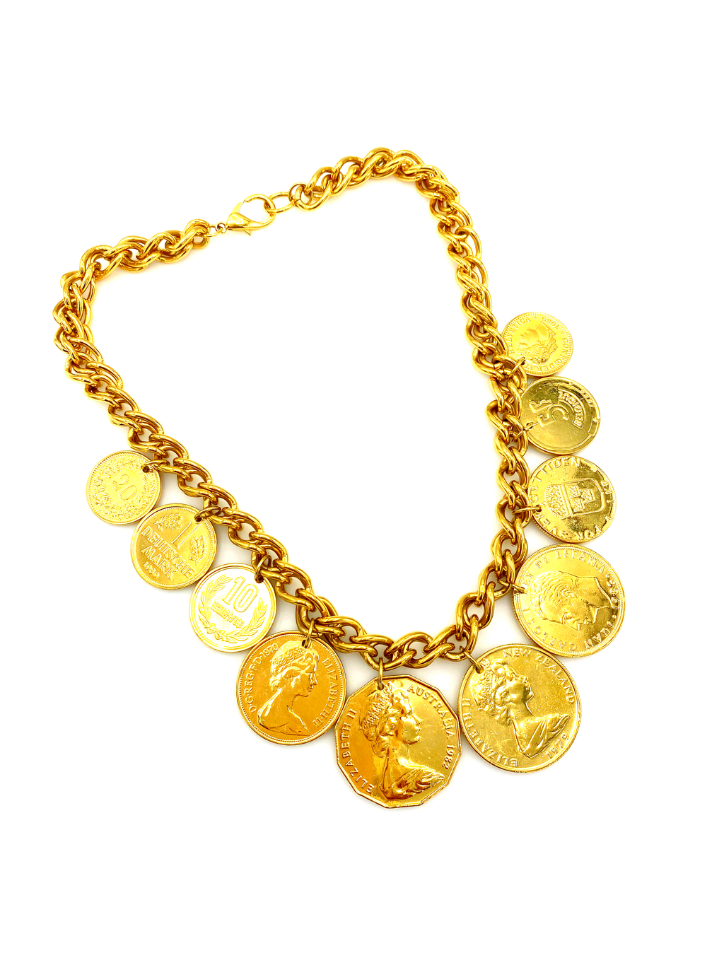 Vintage Gold Large Coin Charm Pendant-Sustainable Fashion with Vintage Style-Trending Designer Fashion-24 Wishes