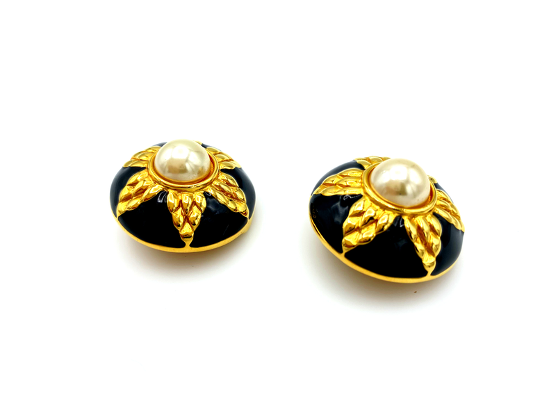 Fendi Gold Large Round Pearl & Black Enamel Vintage Earrings-Sustainable Fashion with Vintage Style-Trending Designer Fashion-24 Wishes