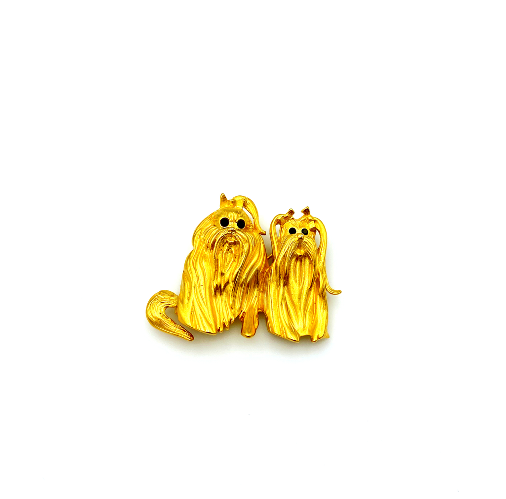Bob Mackie Matt Gold Pair of Dogs Vintage Brooch