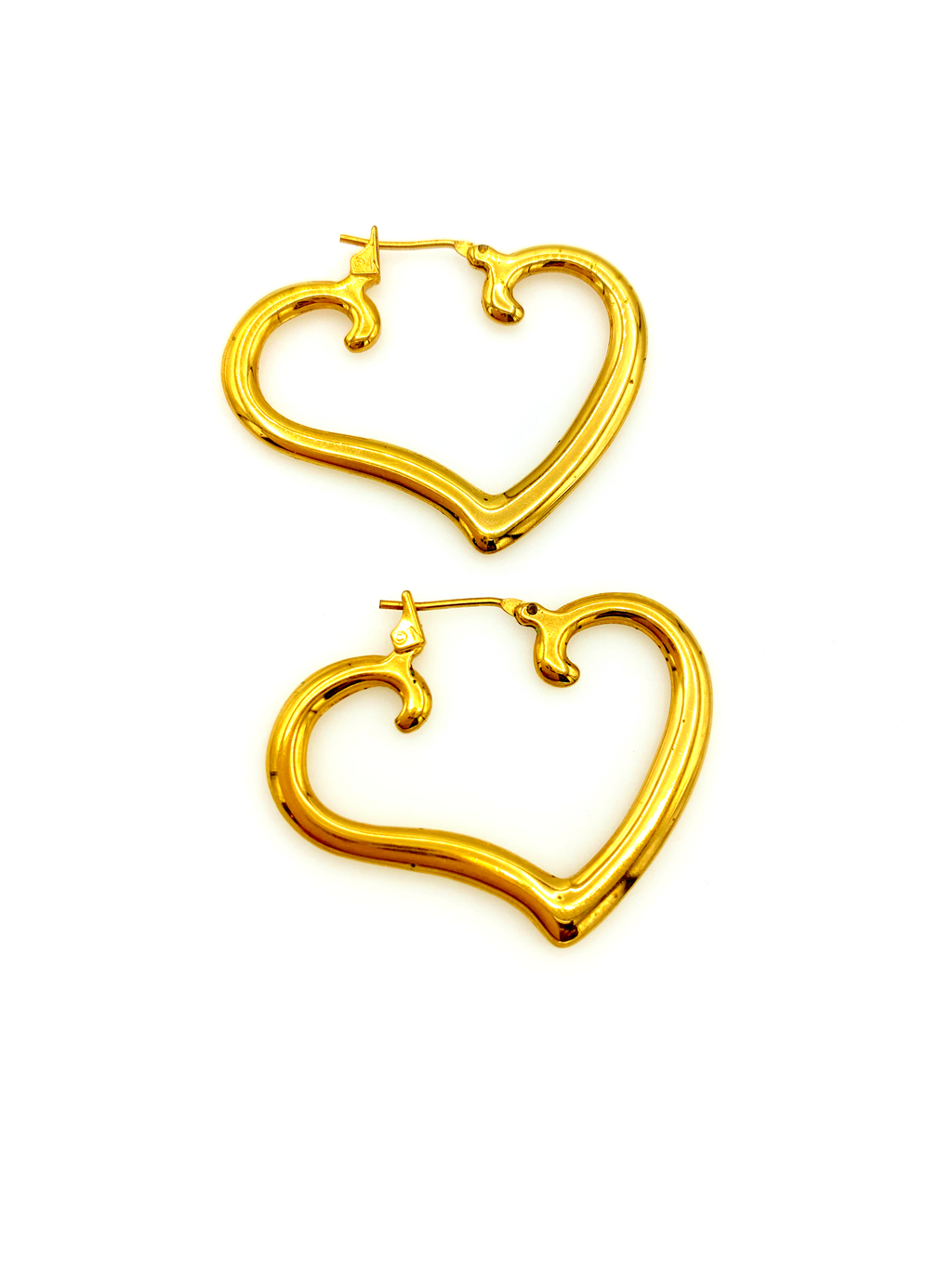 Everyday Gold Heart Hoop Vintage Pierced Earrings-Sustainable Fashion with Vintage Style-Trending Designer Fashion-24 Wishes