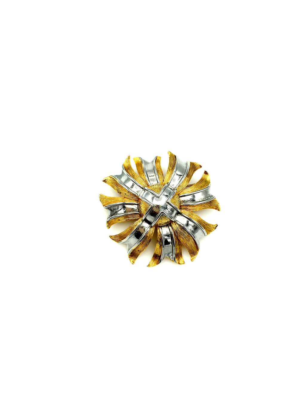 Lisner Vintage Gold & Silver Floral Cross Classic Pin Brooch