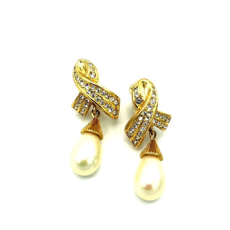 Vintage Christian Dior Teardrop Pearl Drop Earrings