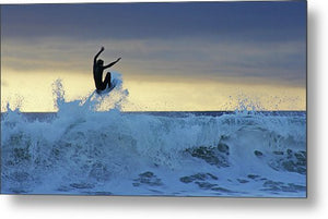 Flying Surfer Sunset - Metal Print