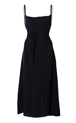 The K.M. Tie Midi Dress in Cupro