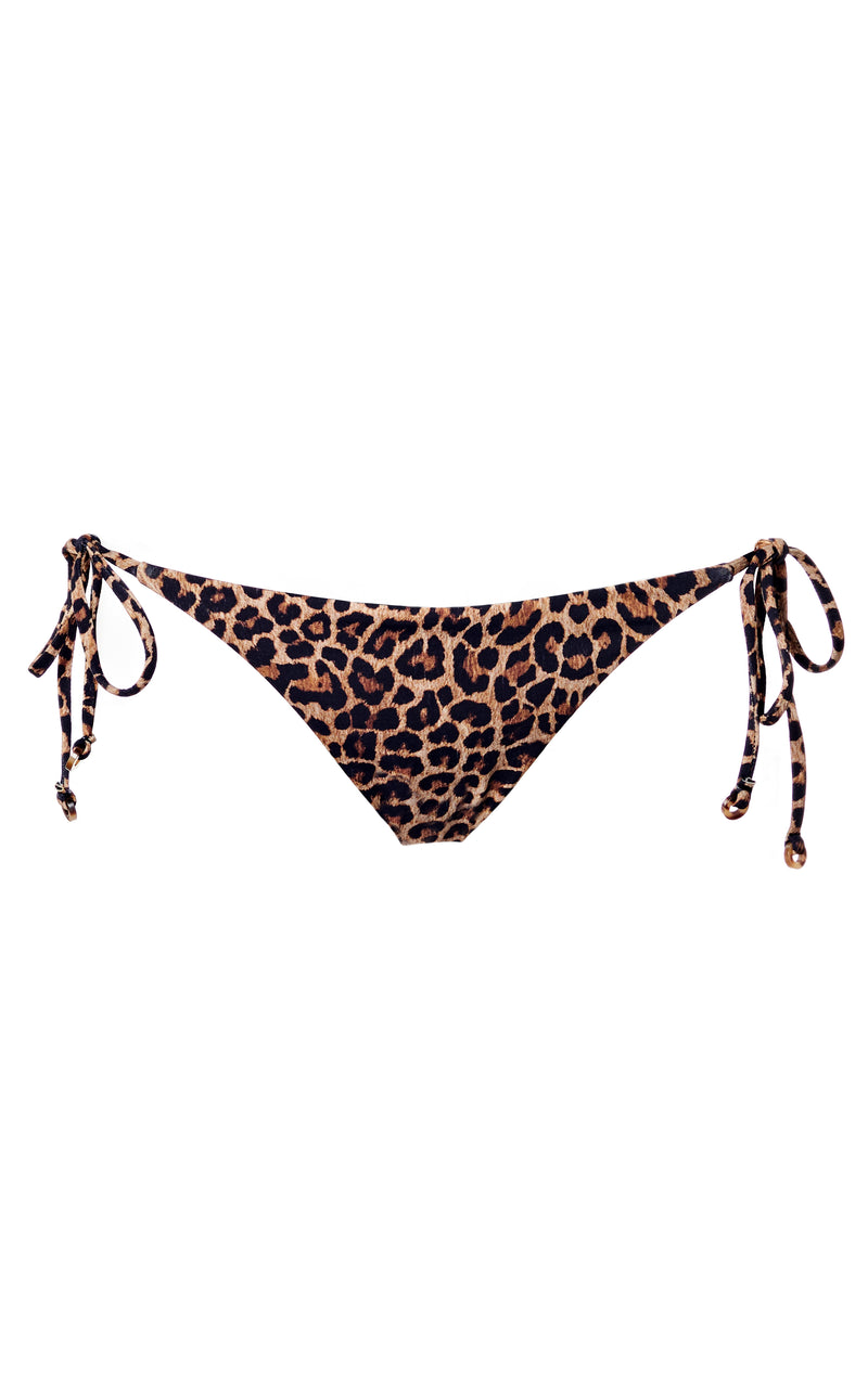 The String Tie Bikini Bottom in Leopard Print