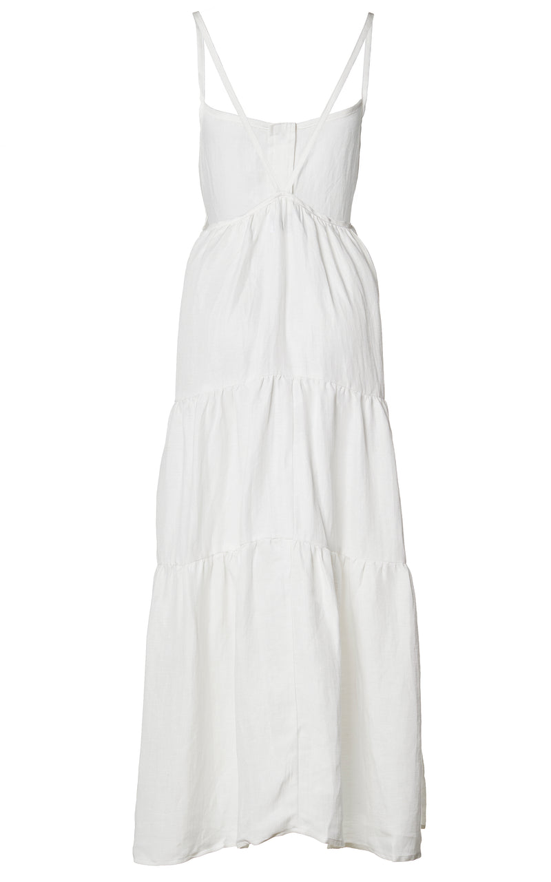 The Flounce Tiered Button Down Midi Dress in Linen Cupro
