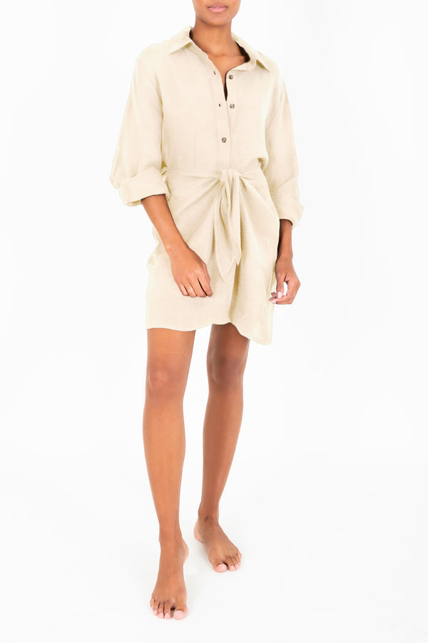 The L.A. Button-Down Midi Wrap Dress in Linen Cupro