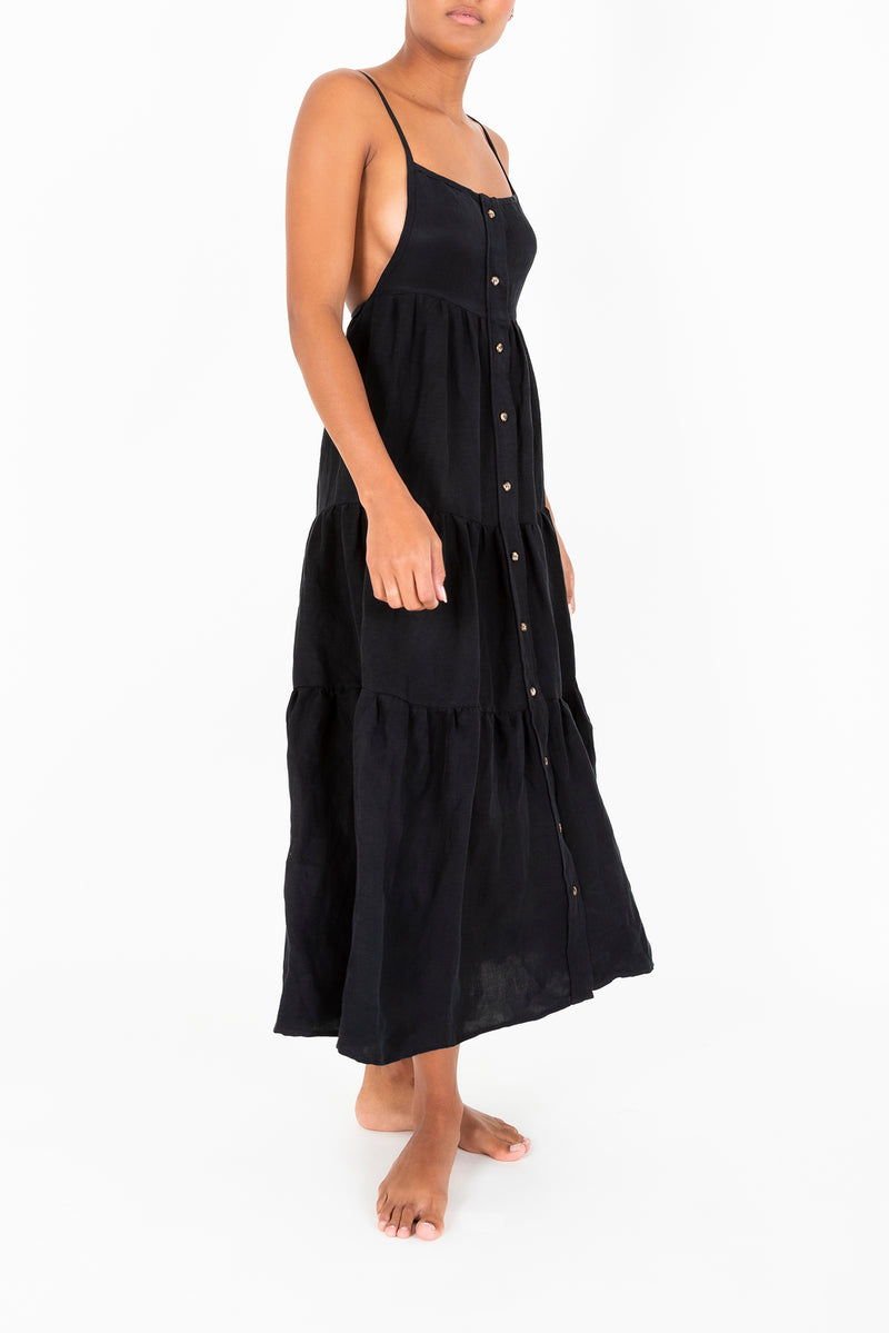 The Flounce Tiered Button-Down Midi Dress in Sheer Ramie