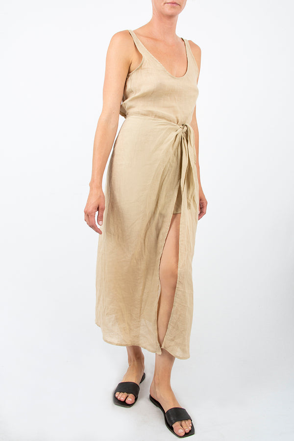 The D.K. Midi Wrap Dress in Sheer Ramie