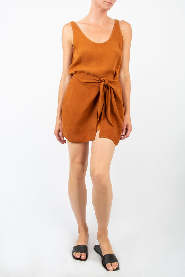 The D.K. Mini Wrap Dress in Cupro