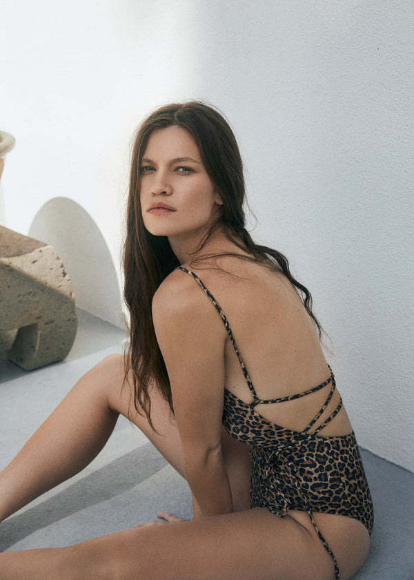 The K.M. Tie One Piece in Leopard Print