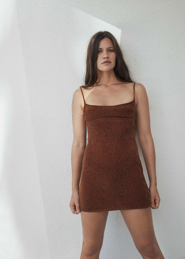 The K.M. Tie Mini Dress in Tonal Leopard Print Cupro