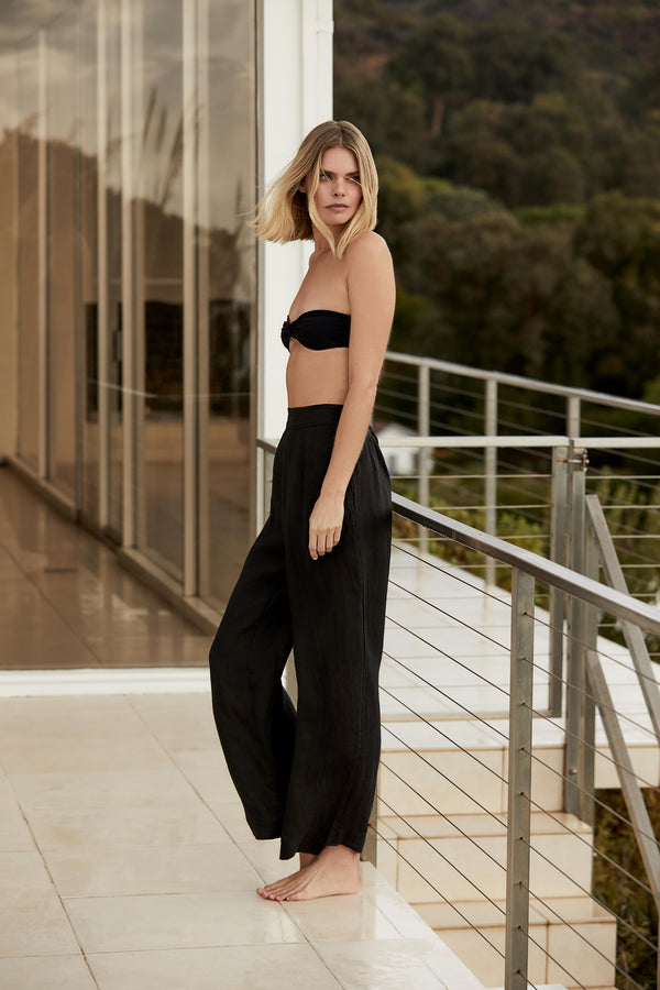 The Keaton Wide Leg Pant in Sheer Ramie