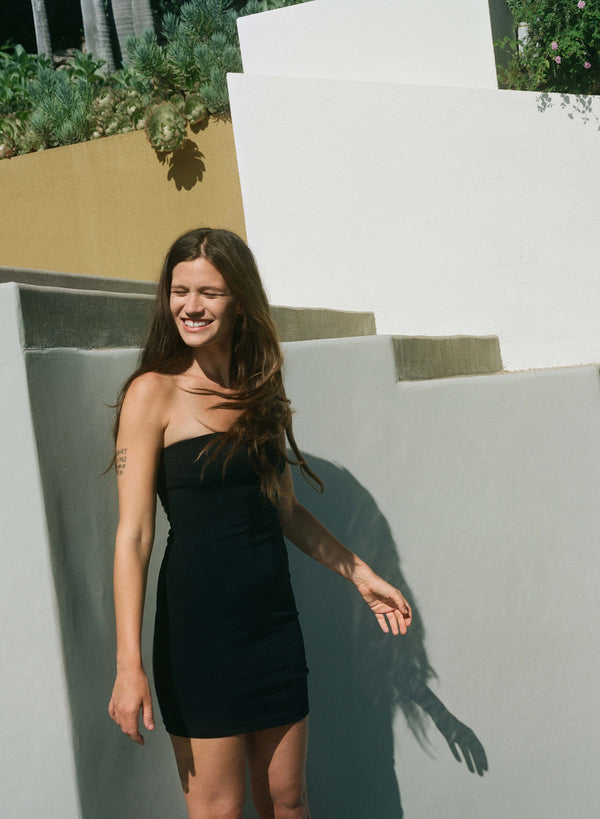PREORDER: The Ritts Strapless Dress in Stretch Cupro