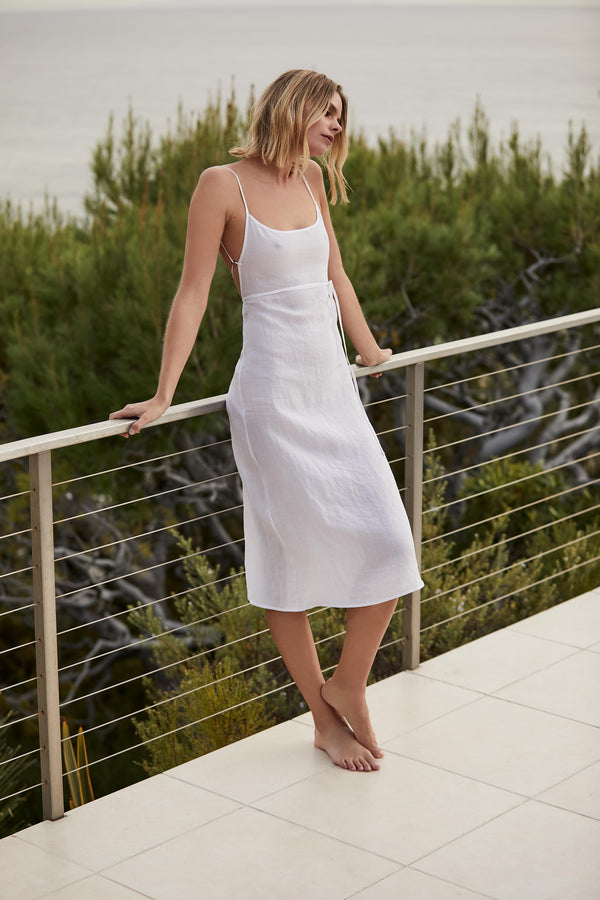 The K.M. Tie Midi Dress in White Ramie