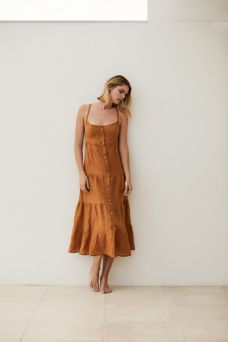The Flounce Tiered Button Down Midi Dress in Burnt Orange Ramie
