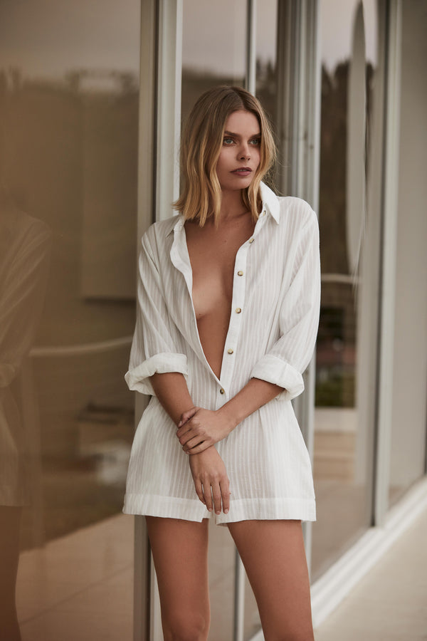 The Lauren Button Down Romper in Off White Daddy Crepe