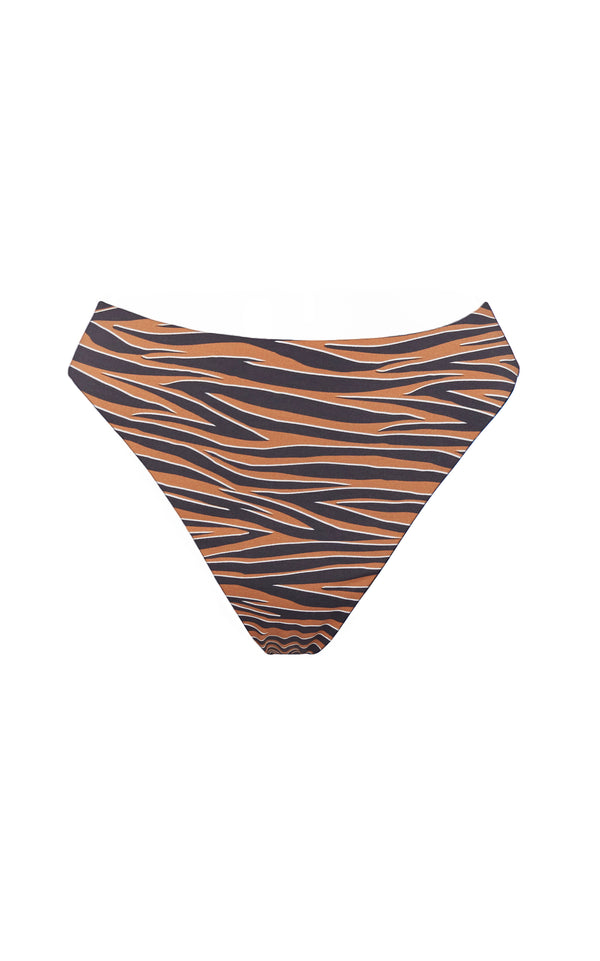 The Midi High Cut Bottom in Abstract Tiger Print