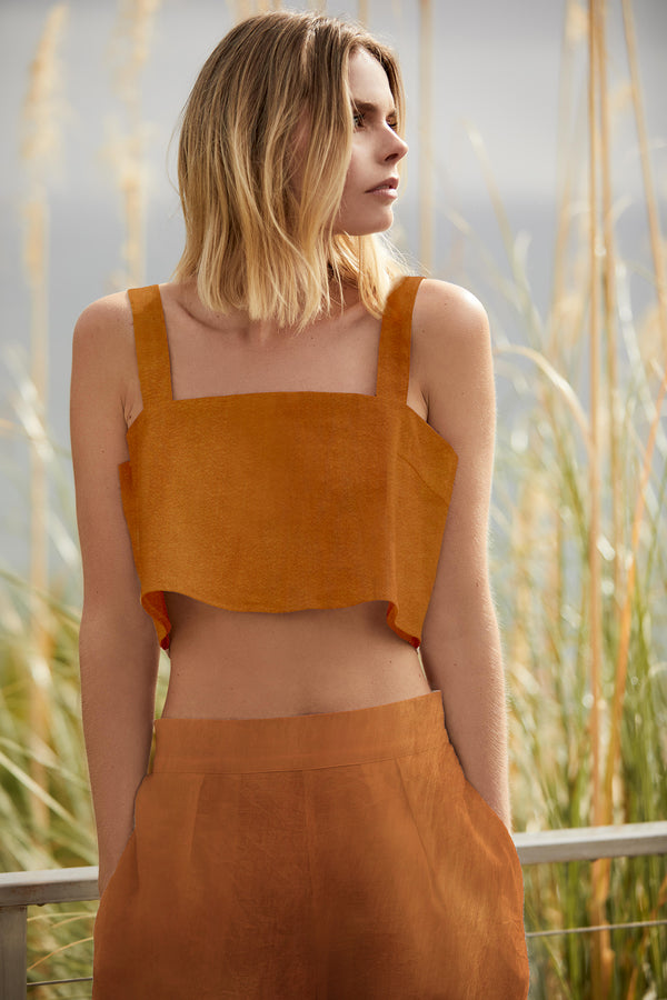 The Box Crop Top in Rust Stretch Linen