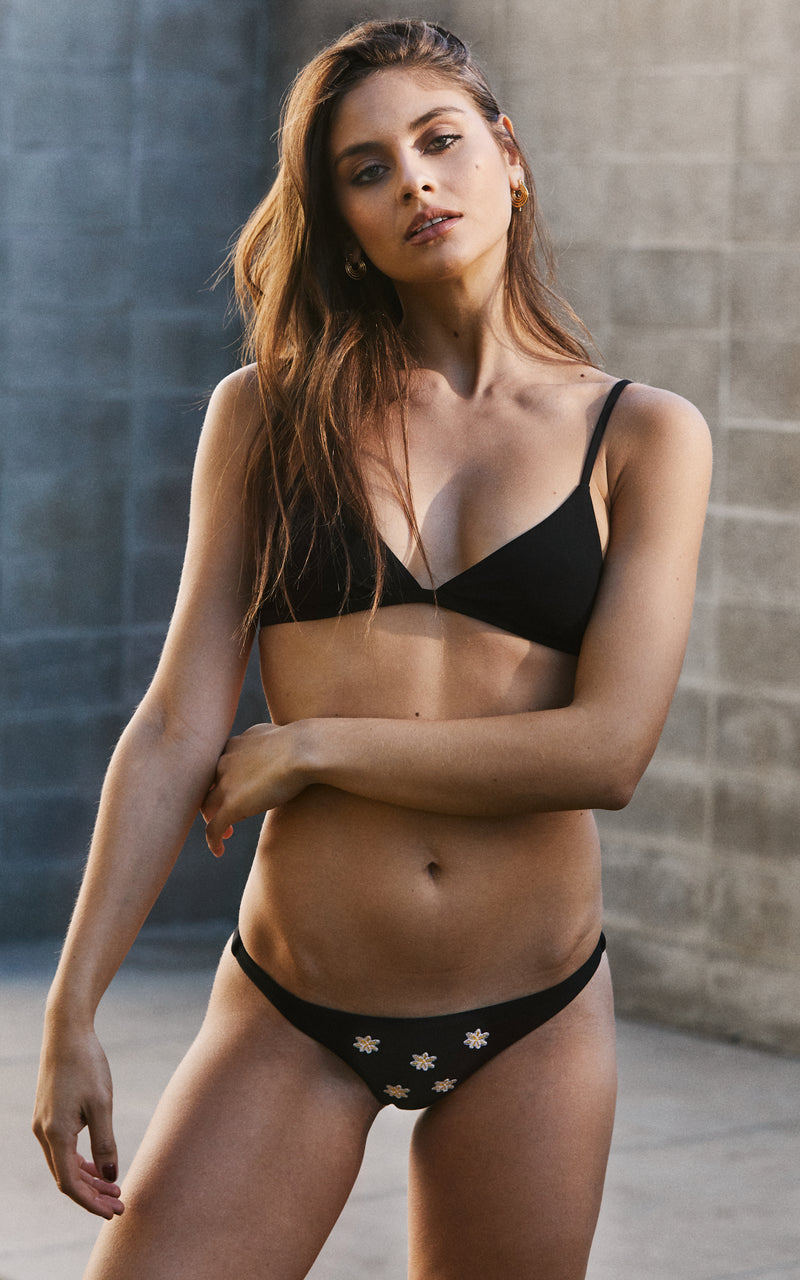 Black Skimpy Bikini Bottom with Floral Embroidery