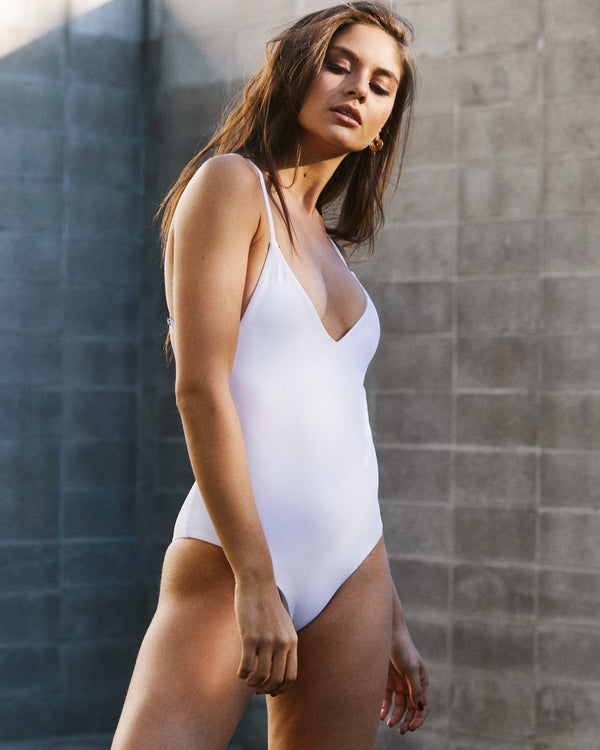 White Plunging One Piece