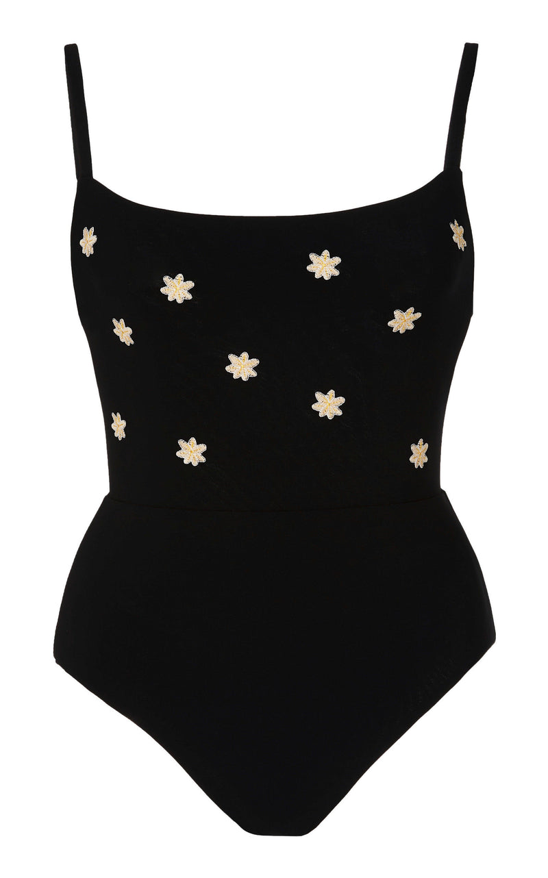 Black Square Neck One Piece with Narcissus Floral Embroidery