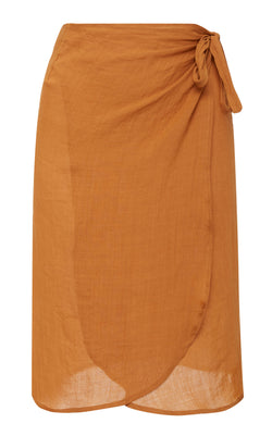 The Femme Wrap Skirt in Burnt Orange Ramie