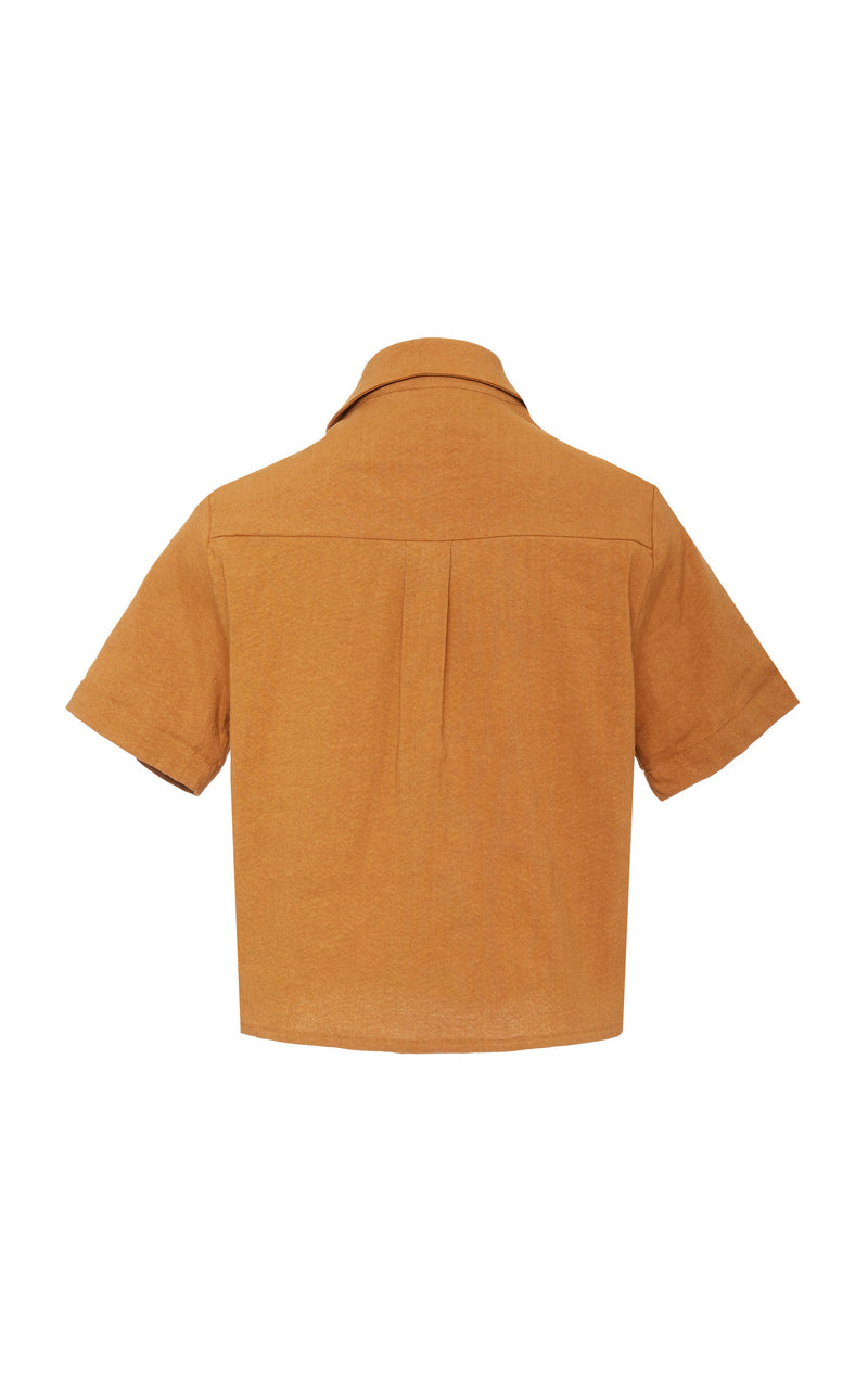 The Hutton Short Sleeve Button-Down Shirt in Rust Stretch Linen