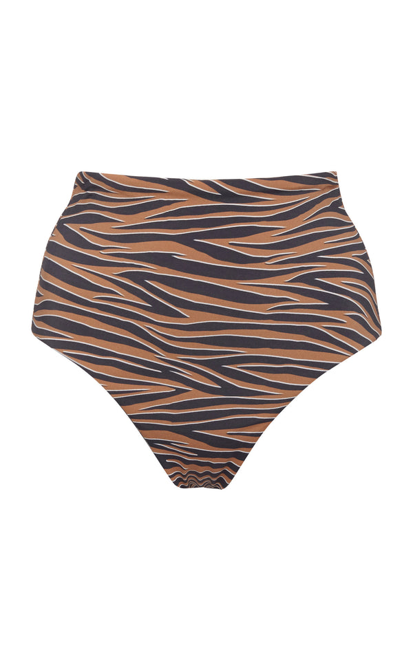 The High-Waisted Cheeky Bottom in Abstract Tiger Print