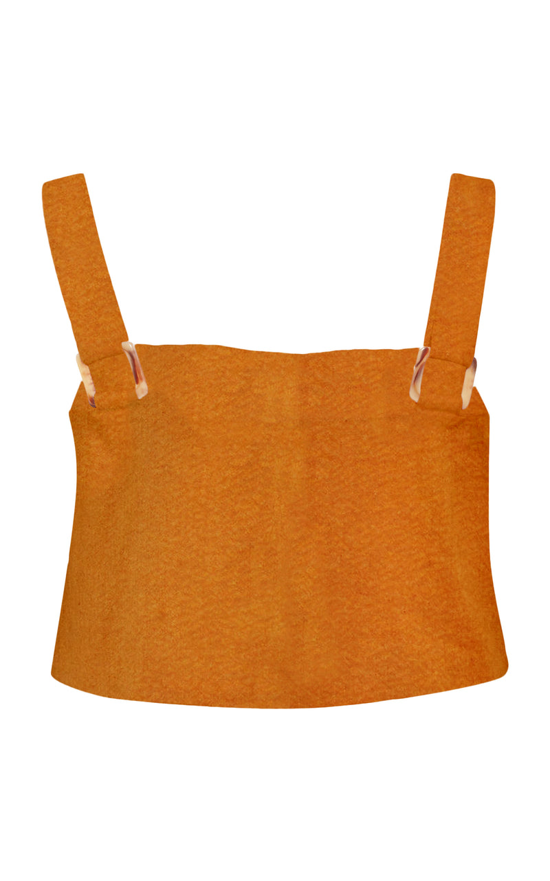 The Box Crop Top in Rust Stretch Linen Cotton