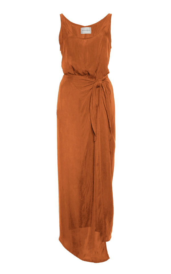 The D.K. Midi Wrap Dress in Rust Japanese Cupro