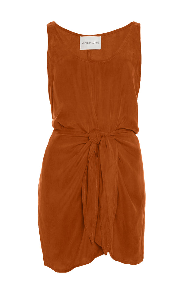 The D.K. Mini Wrap Dress in Rust Japanese Cupro