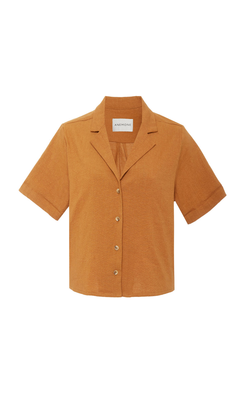 The Hutton Short Sleeve Button-Down Shirt in Stretch Linen
