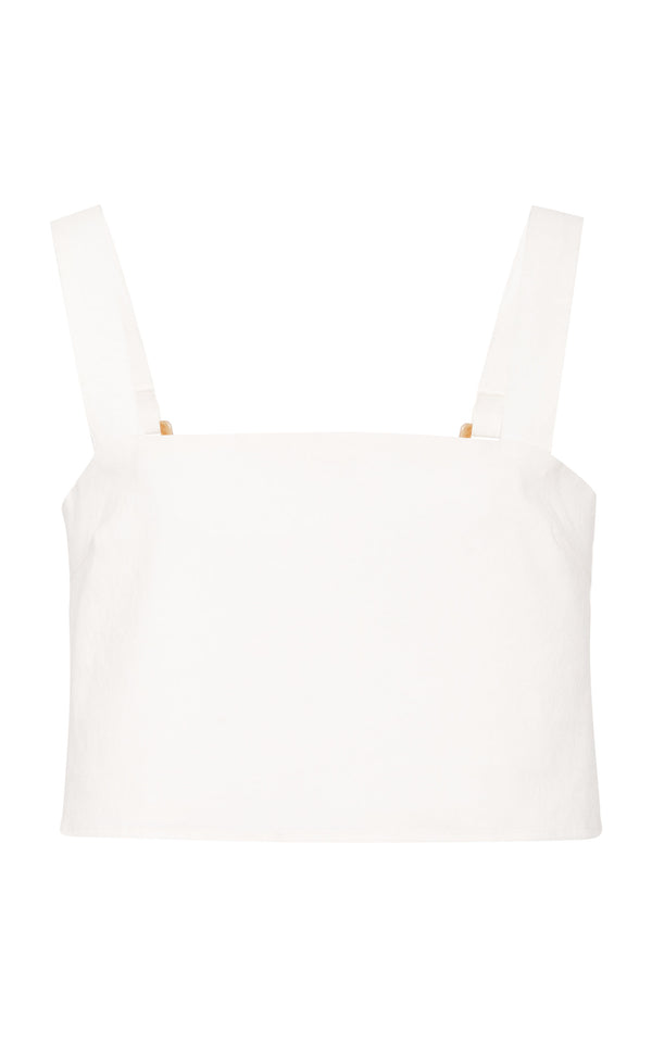 The Box Crop Top in White Ramie