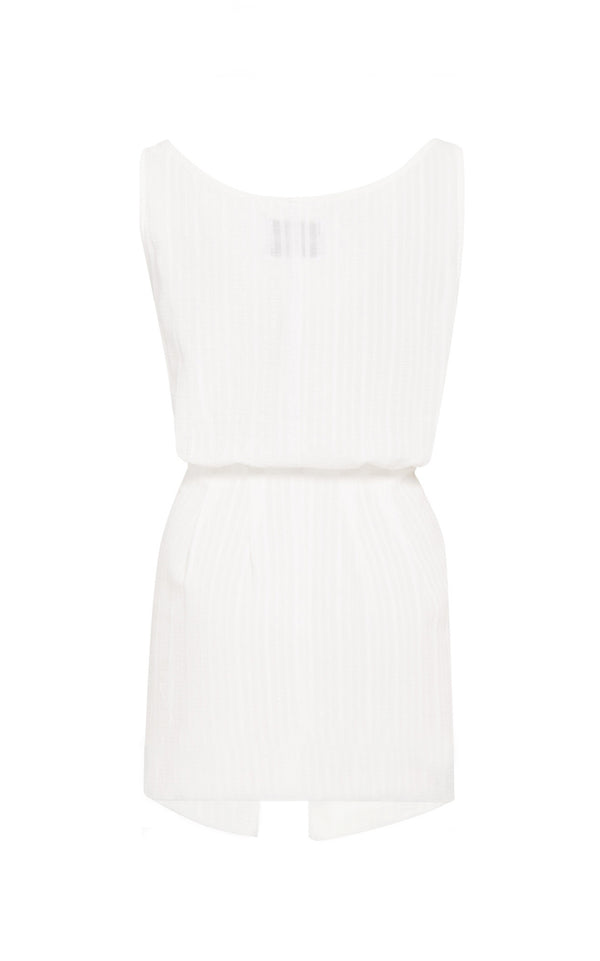 The D.K. Mini Dress in Off White Daddy Crepe