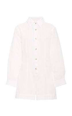 The Lauren Button-Down Romper in Sheer Daddy Crepe Linen