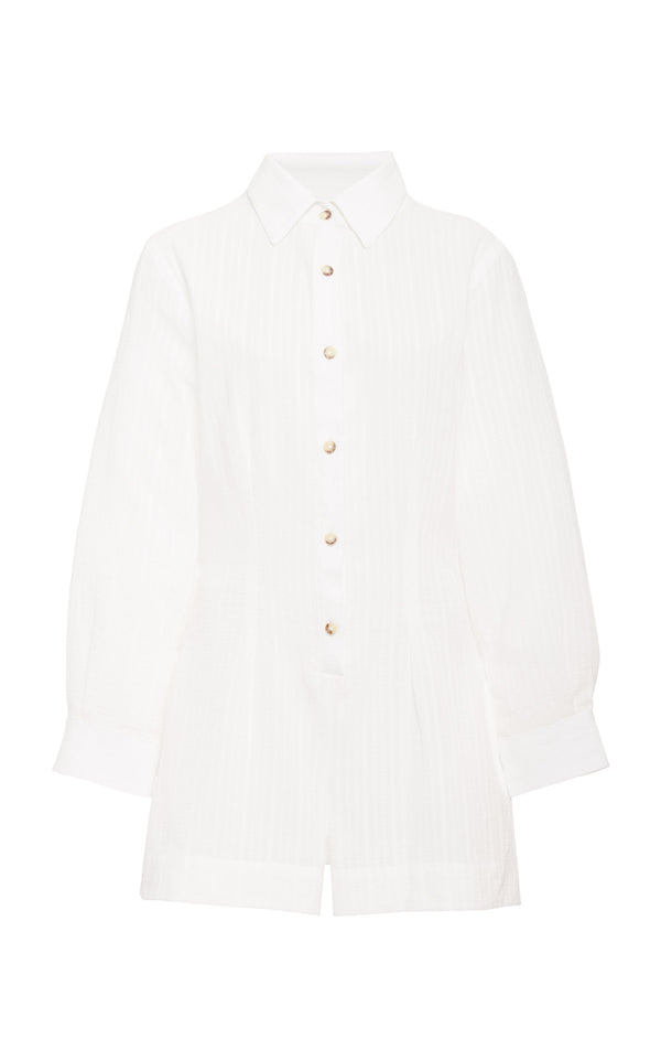 The Lauren Button-Down Romper in Daddy Crepe Linen